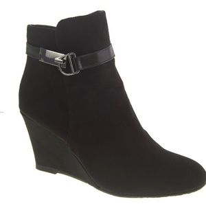 Wedge booties with buckle accents-worn once!